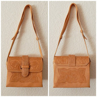Vintage Hand Tooled Tan Mexican Leather Hippie Shoulder Bag Purse
