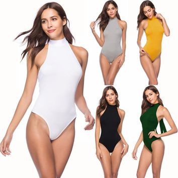 Plus size sexy halter sleeveless bodysuit summer backless strappy bandage One Piece body top club party green white Jumper