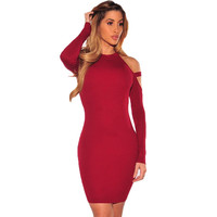 Sexy Bandage Off Shoulder Party Dress Mini Dresses Long-Sleeved Slim Fit Pure Solid Women Dresses Vestidos De Festa LJ8031T