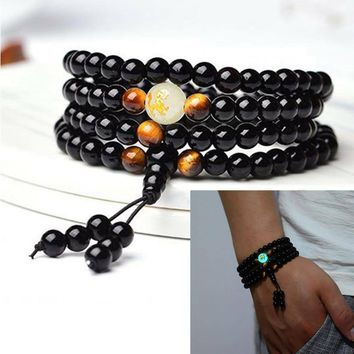 New Black Onyx Luminous Tigers Eye Mala Bracelet