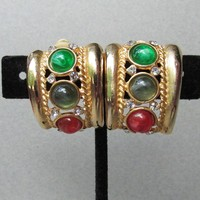 1980's Vintage Unsigned CINER Moghul Jewels of India Earrings
