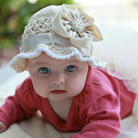Beige Cotton Hat -  Summer Crochet Hat for Baby Girls in Beige and White with Satin Flower, Size 0 - 6 months size