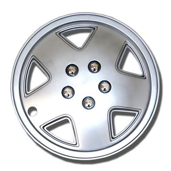 "Set of 4  Metallic Silver Hubcaps 14"" WSC-050S14 - Hub Caps Wheel Skin Cover 14 Inches 4 Pcs Set"