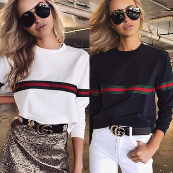 2018 New arrivals casual fashion ladies red striped print long sleeve black white women tees cool awesome women top autumn cloth