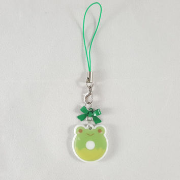 Frog, froggy, donut, food, dessert, phone charm, cute, kawaii, anime, zipper charm, keychain, acrylic charm, green