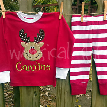 Christmas Pajamas -Christmas Personalized Pajamas - Christmas Monogram Pajamas - Christmas Pajamas - Red Stripe Christmas Pajamas