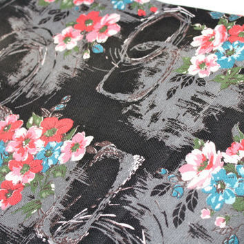 Mid Century Fabric Black Barkcloth 1950 by ObjectsdeArt on Etsy