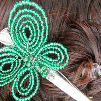 Kelly Green Butterfly Beaded Hair Clip