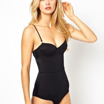 River Island Bustier Swimsuit With Tummy Control