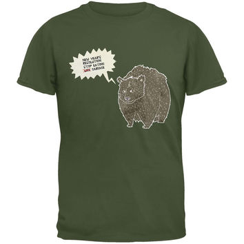 New Year's Stop Eating Garbage Military Green Adult T-Shirt