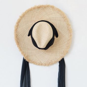 Muchique Summer Hat for Women Raffia Straw Hats Sun Beach Hat with Wide Brim Panama Hat with Chiffon Tie