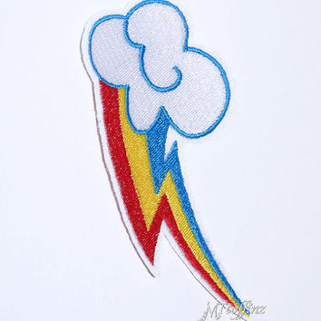 My Little Pony Rainbow Dash Cutie Mark Iron On Embroidery Patch MTCoffinz - Choose Size