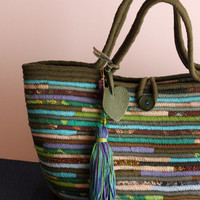 RESERVED LISTING for Voula, Green/Turquise Basket Bag, Multicolour Basketbag, Summer BohoChic Bag, Handmade Denim Bag