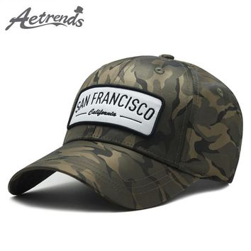 Trendy Winter Jacket [AETRENDS] California Custom Hat Men Women Camouflage Cap Mens Baseball Caps Outdoor Sport Snapback Hip Hop Camo Hat Z-6515 AT_92_12