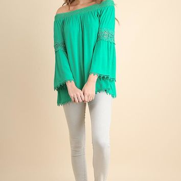 Off the Shoulder Bell Sleeve Top with Crochet Cutout