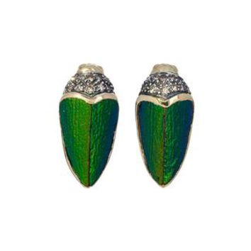 Small Scarab Earrings with Brown Diamonds