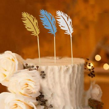 cake toppers gliter feather paper cards banner for fruit Cupcake Wrapper Baking Cup birthday tea party wedding decoration