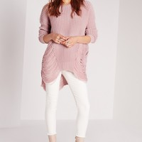 Missguided - Longline Laddered Jumper Pink