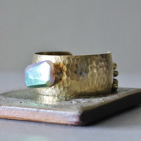 Moonstone cuff bracelet, natural titanium moonstone chunk, bells, adjustable hammered brass cuff