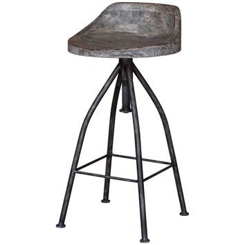 Kairu Gray Glazed Driftwood Bar Stool