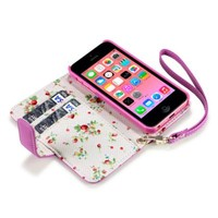 iPhone 5C Premium Faux Leather Wallet Case with Floral Interior (Hot Pink Floral)