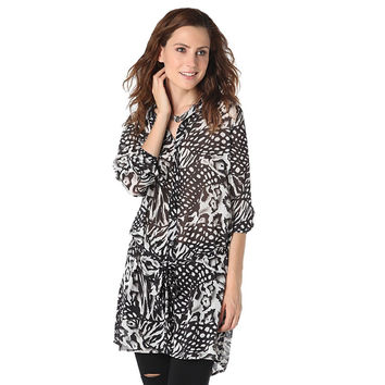 Longline chiffon shirt with animal print