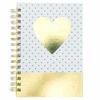Heart of Gold Hard Cover Journal in Gold Foil