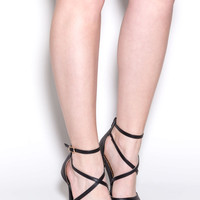 Strap Me On Pointy Faux Leather Heels