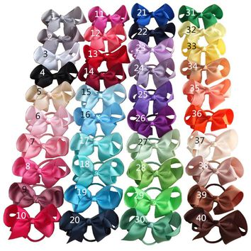 4 inch Hair bow WITH color Elastic Bands Ponytail Hair Holder bows Hair accessories Elastic Loop Bobble School Dancing bows
