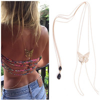Hot Sexy Bikini Long Necklace Body Chain Bare Back Gold Butterfly Pendant Body Jewelry NE147