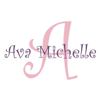 Personalized Vinyl Initial & Name Wall Decal - Cute Curly Script Monogram - Baby Girl Boy Nursery Toddler Teen Room 22H x 36W CN007