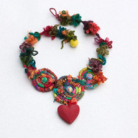 Heart statement necklace, chunky mixed media jewelry, colorful, OOAK