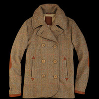 UNIONMADE - UNIONMADE Harris Tweed - Golden Bear Double Breasted Peacoat in Olive Herringbone