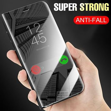 Luxury Plating Mirror Flip Phone Case For Samsung Galaxy S9 S8 Plus S7 edge Full Cover For Samsung Note 8 S9 S8 Shockproof Cases