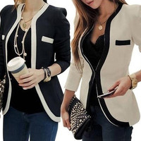 Slim Blazer with Piping Detail