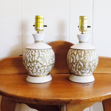 """White and Gold Nightstand Lamps, Mid Century 9"""" Tall without Shade, Shades sent Upon Request"""