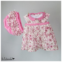 Baby Girl  Dress - Floral Pink dress and ruffled pink baby diaper cover - shorts - Clothing set