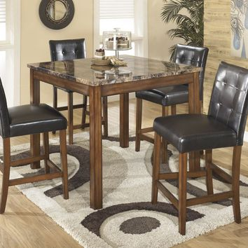 Ashley D158-233 Theo Faux Marble Counter Table with Four Barstools