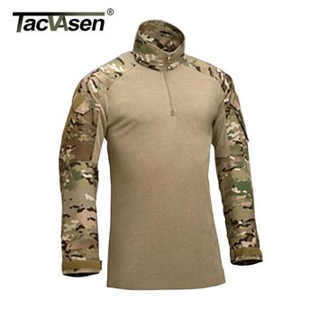 TACVASEN Tactical T-shirts Military US Army Combat T-shirt Cargo Multicam Airsoft Paintball Clothing With Elbow Pads TD-JNSZ-002