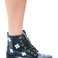T.U.K. Flower 7 Eye Boot Black/White