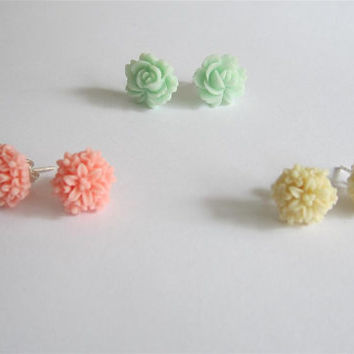 Flower earrings, Set of 3 stud earrings, rose earrings, dahlia earrings, stud earrings