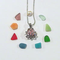 Mix It Up Sea Glass Lotus Locket by Wave of Life