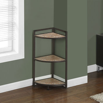 "Terracotta Tile Top / Hammered Brown 30""H Corner Etagere"