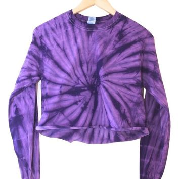 Violet Tie-Dye Cropped Long Sleeve Tee