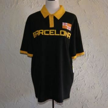 FIFTH SUN BARCELONA Black With Yellow Trim Soccer Short Sleeve Jersey Size Med