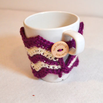 Purple Reusable cup sleeve, Crochet Coffee Sleeve, Chevron Coffee Cozy, Choose Your Color, Ready to Ship, Eco-friendly mug wrap,