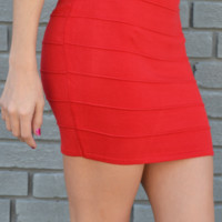 Banded With Love Skirt: Bright Red