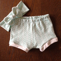 Mint Chevron Shorties Set in Organic Cotton for Babies and Kids