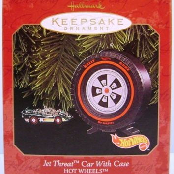1999 Jet Threat Car With Case Hallmark Ornaments set/2