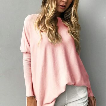 Pure Color Long Sleeves Loose Blouse